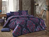 LaModaHome 3 Pcs Twin and Single Bedroom Bedding Soft Colored 100% Cotton Ranforce Single Quilt Duvet Cover Set Soft Relaxing Comfortable Pattern Design Mottled Single Bed with Flat Sheet