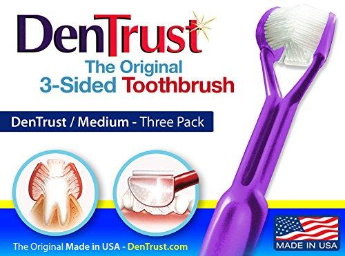 3 PACK :: DenTrust 3-Sided Toothbrush :: Medium Bristle :: Wrap-Around Design ::