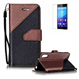 Sony Xperia XZ Case [with Free Screen Protector},Funyye Stylish Premium Flip Magnetic Detachable PU Leather Wallet with Credit Card Holder Slots Smart Standing Folio Book Style Ultra Thin Different Color Splicing Protective Case Cover Skin for Sony Xperia XZ -Brown