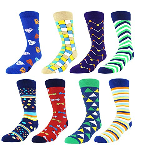 Zmart 8 Pack Colorful Fancy Argyle Dress Crew Sock, Classic Cotton Casual Funky -
