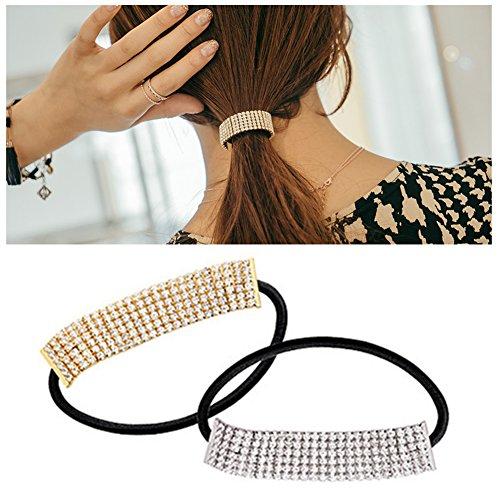 (Casualfashion 2Pcs Designer Fashion Elastic Rhinestone Hairtie Ponytail Holder Headband Hair Ties Accessories for Women Girls Hair Band)