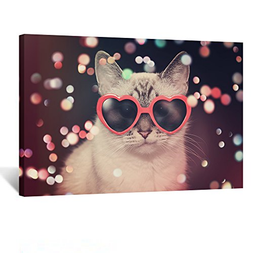 Canvas Prints Wall Art Cute Cat with Red Heart Sunglasses Funny Art Poster Print on Canvas Stretched Canvas Giclee Print Ready to Hang for Party Decoration (Cat with red heart - Wall Art Sunglasses