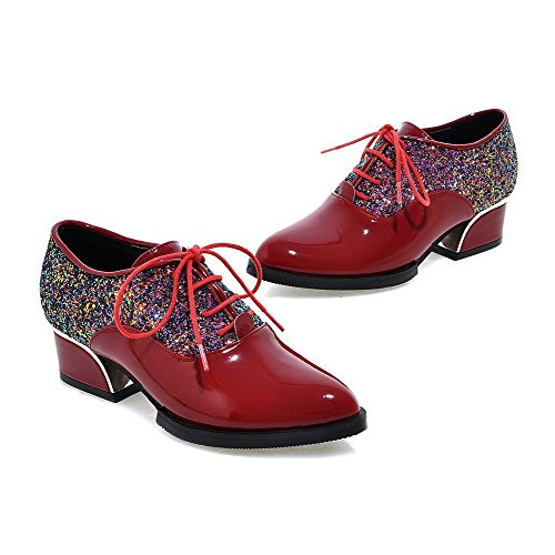 Lace Pumps Shoes Pointed Women's up Closed Solid Low Toe Heels WeenFashion Red zvq5wv