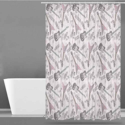 VIVIDX Fabric Shower Curtain,Music Decor,Pattern with Guitars Shoes Skulls Crossbones Stars Punk Rock Music Concert,Metal Build,W36x72L