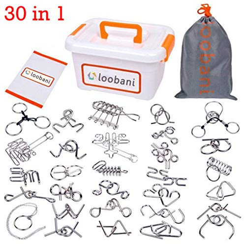 LOOBANI Assorted Brain Teasers Metal Wire IQ Puzzles Plastic Box Package Great Educational Intelligence Toys Adult Children Student Expanding Mind 1 Set 30Pcs -