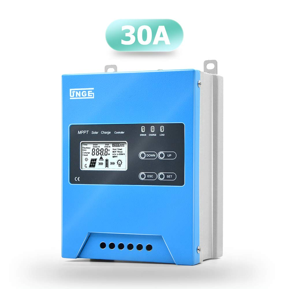 SolaMr MPPT 30A Controlador de Carga Solar 12V/24V/48V Buck Regulador de Batería del Panel Solar con Pantalla LCD Sensor de Temperatura Interfaz RS485-30A