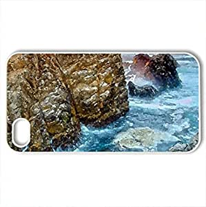 awesome rocky shore hdr - Case Cover for iPhone 4 and 4s (Beaches Series, Watercolor style, White)