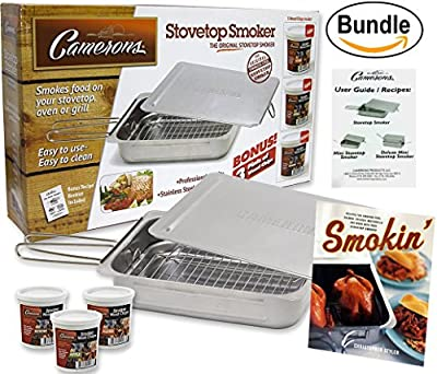 Cameron's Stovetop Smoker - The Original Stainless Steel Smoker Value Pack with 3 Bonus Pints of Wood Chips - Plus Smokin': Recipes for Your Stovetop Smoker Book (Bundle) by Smokin' Smoker Book Bundle