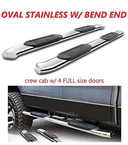 "Running Boards 5"" Oval Bent Polished Stainless Steel Nerf Bars Side Steps For 1999-2018 Chevrolet Silverado/GMC Sierra 1500 2500 3500 Crew Cab (w/4 FULL size doors)"