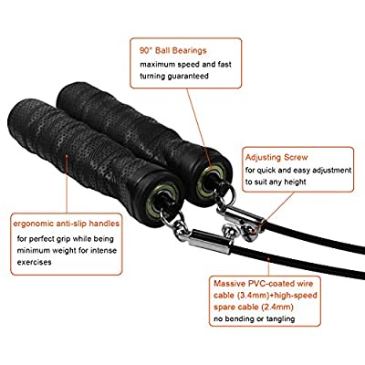 Jump Rope, Fitness Jump Rope - Adjustable - High Speed - Ball Bearings - Anti-Slip Handles - Survival and Cross - Best For Exercising, Boxing MMA Fitness Sports Training