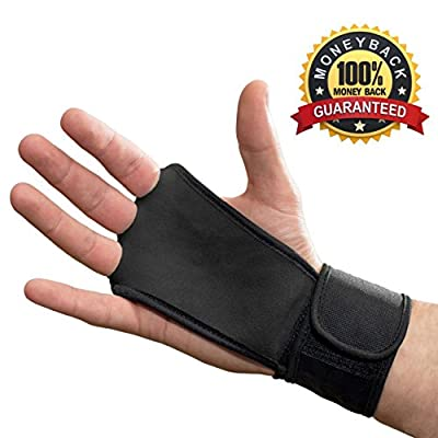 Leather Hand Grips with wrist support for Cross Fitness WODs, Pull Ups, Kettlebell workout, Barbell Training, Weightlifting- Velcro Wrist Support- Calluses Protect- For Men and Women