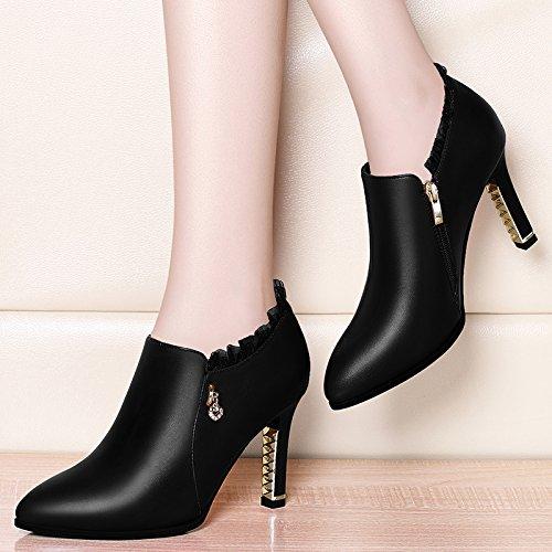 HBDLH Frühling Scharf Darauf 9Cm Dünnen High Heels Einzelne Schuhe Mode Damenschuhe Spitzen Lederschuhe Dünnen 9Cm Absätzen. schwarz 8467c2