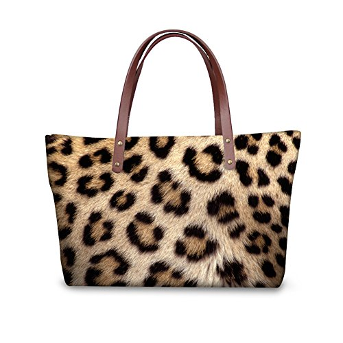 Mumeson Stylish Cheetah Fur Print Shoulder Bags for Women Casual Tote Bag Anti-theft
