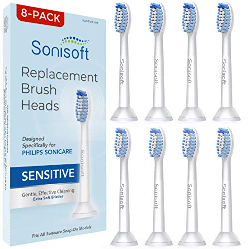 Sonisoft Sensitive Replacement Toothbrush Heads (8-Pack) - Brush Heads for Philips Sonicare Fits Gum Health, Plaque Control, DiamondClean, Flexcare, Easyclean, HealthyWhite