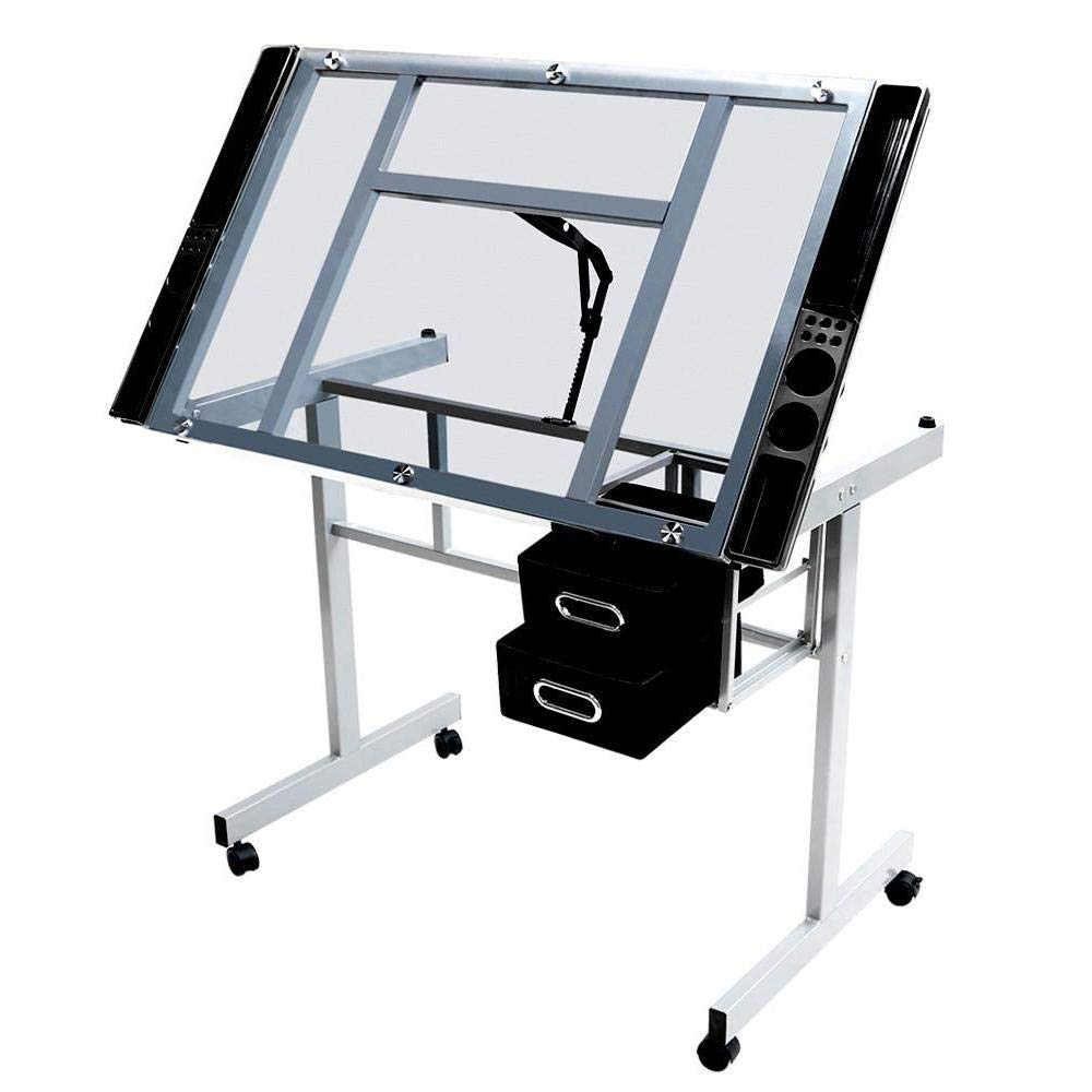 Yaheetech Adjustable Drafting Table Drawing Desk Art Desk Table Art Craft Station Study Table Tempered Glass Top w/2 Slide Rolling Wheels and Drawers