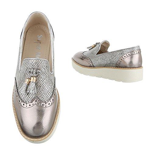Ital-Design - Zapatillas de casa Mujer gris plateado