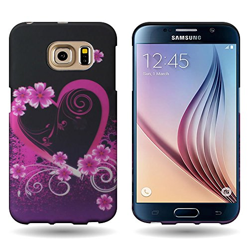 (Galaxy S6 Edge Case, Back Cover Protector [CoverON Slender Fit] Slim Shell Style with Unique Printed Image [Hard Plastic Shield] Phone Cover Case for Samsung Galaxy S6 Edge - Purple Love Heart Design)