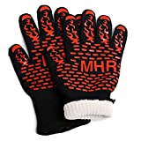 Extreme Heat Resistant Gloves for BBQ Grilling And Fireplace -Long Cuff -Forearm Protection -Silicone Grip -Good For Smoker -Baking -Cooking -Oven Mitts Or Camping Gloves (1 Pair) (Small)