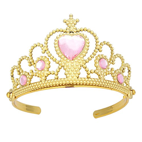 Princess Dress Up Plastic Gold Tiara Pink Ruby for Girls with Gift (Gold Plastic Tiara)