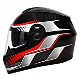 Motorcycle Full Face Helmet, Carbon Fiber Anti-Collision Integrated Helmet Unveiled Helmet Off-Road Racing Racing Helmet DOT/ECE Certified...