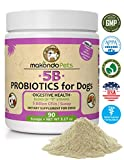 Makondo Pets Probiotics for Dogs & Puppies - Flavored, Made in USA, Extra Strength 9 Species Digestive Support Tummy Relief Enzyme Powder, 5 Billion CFUs per Scoop - 90 Scoops per Tub, 3.17 oz