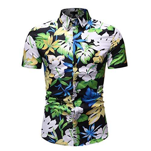 - YOcheerful Men's Summer Tops Hawaiian Printed Short-Sleeved Shirts Loose Button Up Top(Green, XL)