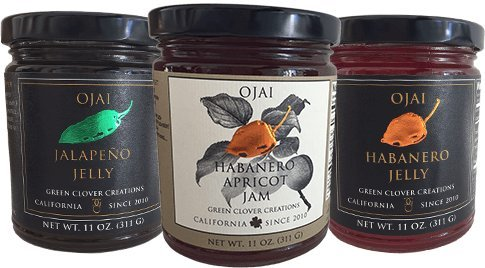 Ojai Jelly Roll, Assorted Varieties: Ojai Jalapeño Jelly, Ojai Habanero Jelly & Ojai Habanero Apricot Jam (3 pack)