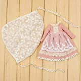 Original Doll Clohtes Outfit, Light Pink Dress + Lace Scarf, Doll Dress Up
