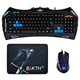 BAKTH Matte Blue LED Backlit Gaming Keyboard and DPI 2400 Blue Backlit Gaming Mouse Plus BAKTH Cstomized Mouse Pad as Gift