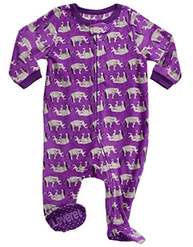 Leveret Fleece Sleeper Pajama Elephant Purple 2 Years