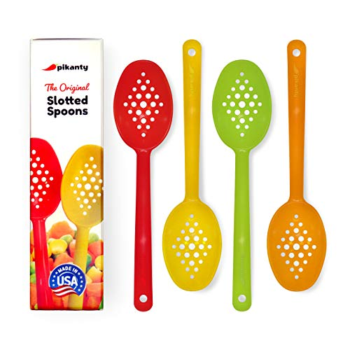 The Original Pikanty slotted spoons are ideal for serving different types of canned food without any liquids | Set of 4 spoons | Made in USA ()