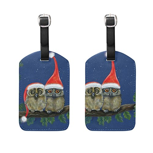 (Luggage Tags Two Little Owls With Christmas Caps Womens Bag Suitcase Tags Holder traveling accessories Set of 2)