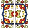 """FLORAL DESIGN - TWO 3"""" X 6"""" Ceramic Tile Address House Numbers - Talavera White LEFT AND RIGHT ENDS from Address Art"""