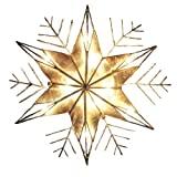 Kurt Adler 10-Light Capiz and Wire Snowflake Christmas Treetop, 10-Inch, Silver