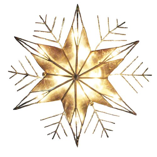 (Kurt Adler 10-Light Capiz and Wire Snowflake Christmas Treetop, 10-Inch, Silver)