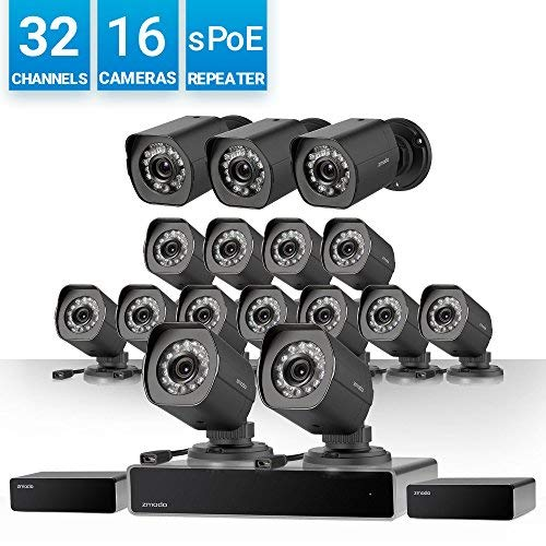 Zmodo 32 Channel HD NVR Security System 16 x IP 720P HD Outdoor/Indoor Video Surveillance Camera, w/sPoE Repeater for Flexible Installation & Extension, Customizable Motion Detection ()