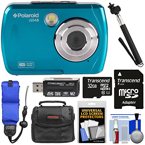 Polaroid iS048 Waterproof Digital Camera (Teal) with 32GB Card + Case + Selfie Stick + Float Strap + Kit