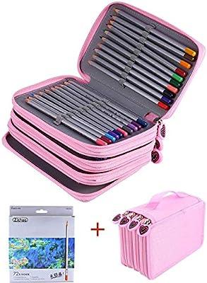 ZJchao 72 Lápices de colores de alta calidad para dibujar el artista de bocetos Oxford, estuche de varias capas, incluye ideal para libro de colorear de jardín secreto, color rosa: Amazon.es: Oficina