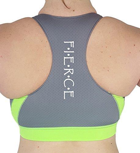 Workout & Yoga Sports Bra. High Impact Racerback Women's Sport Bra. (XXL, Neon Green)