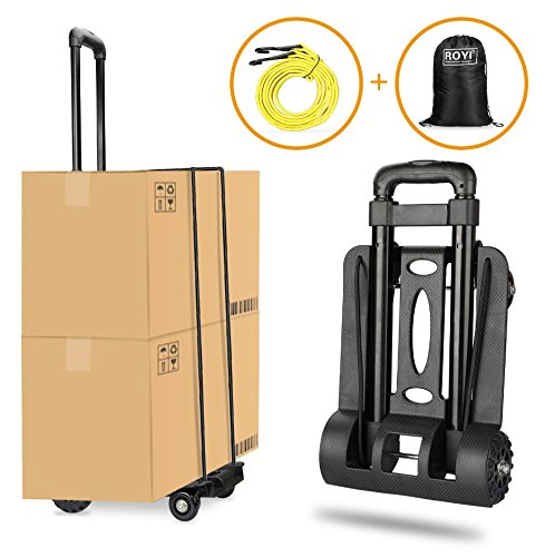 Folding Hand Truck Heavy Duty 155 lbs Loading Capacity 4 Wheel Solid Construction Compact and Lightweight Utility Cart for Luggage/Personal/Travel/Auto/Moving & Office Use Portable Fold up Hand Cart by tomser