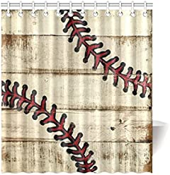 Lovers Families Friends Gifts Baseball Design Waterproof Bathroom Decor Fabric Shower Curtain Polyester 66