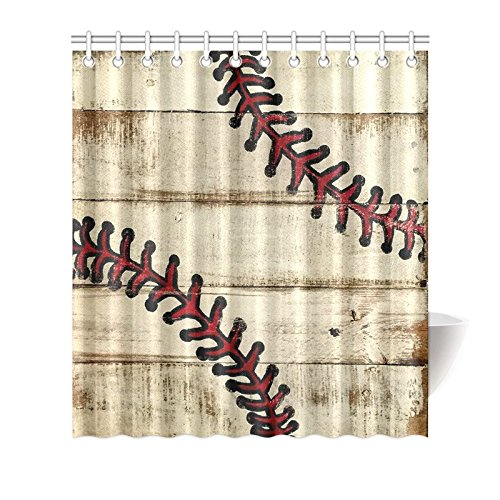 Lovers Families Friends Gifts Baseball Design Waterproof Bathroom Decor Fabric Shower Curtain Polyester 66 X 72 Inches
