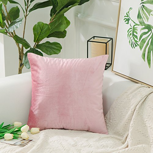 HOME BRILLIANT Spring Decoration Soid Velvet Square Decorative Cushion Cover Throw Pillow Cover  ...