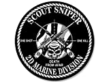 sniper decal - GHaynes Distributing ROUND Scout Sniper 2d Marine Division Sticker Decal (decal one shot kill 2nd) Size: 4 x 4 inch
