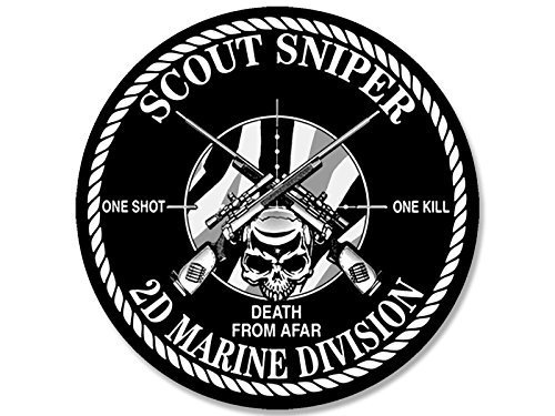 GHaynes Distributing ROUND Scout Sniper 2d Marine Division Sticker Decal (decal one shot kill 2nd) Size: 4 x 4 inch ()