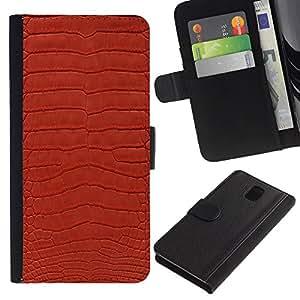"""Samsung Galaxy Note 3 III N9000 N9002 N9005 , la tarjeta de Crédito Slots PU Funda de cuero Monedero caso cubierta de piel ("""" Texture Textile Red Design Pattern Art"""")"""