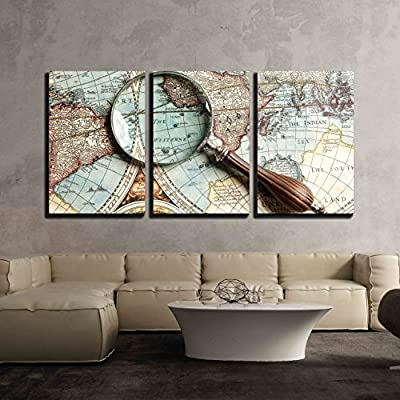 3 Piece Canvas Wall Art - Vintage Magnifying Glass on an Old Map. - Modern Home Art Stretched and Framed Ready to Hang - 24