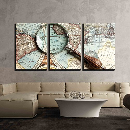 - wall26 - 3 Piece Canvas Wall Art - Vintage Magnifying Glass on an Old Map. - Modern Home Decor Stretched and Framed Ready to Hang - 24