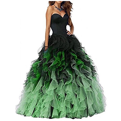 Chady 2017 Sweethart Ball Gown Puffy Ombre Organza Prom Dresses Long Quinceanera Dresses Black Green Prom Dresses Ball Gown - Ombre Ball Gown