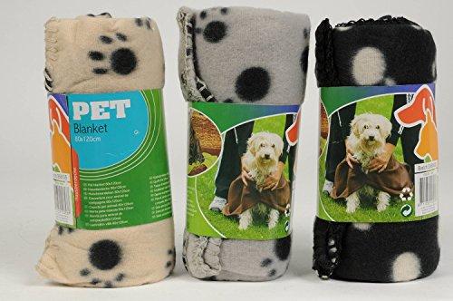 3er Pack Haustierdecke 80x120cm Haustier Decken 3 farbig sortiert für Hunde und Katzen Fleecedecke Hundedecke Katzendecke